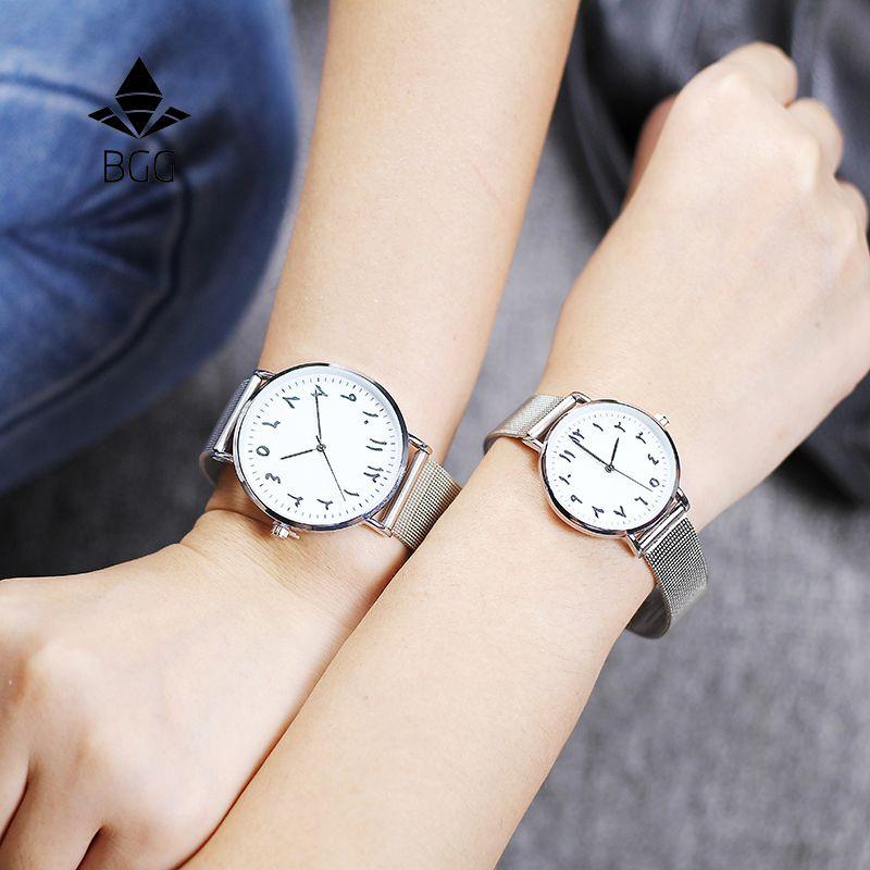 Mode chiffres arabes femmes Montre BGG marque de luxe ultra-mince femmes Montre-bracelet à Quartz dame robe Montre Montre Femme Horloge Saat