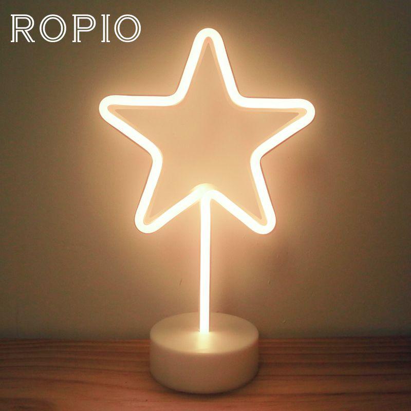 ROPIO LED Neon Abajur Night Light Desk Lamp Star Moon Thunder Battery Operated for Holiday Light Festival Party Wedding Decor