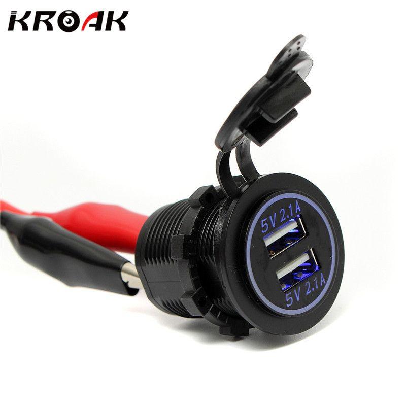 12 В универсальный автомобиль USB Авто-прикуриватели гнездо Splitter Водонепроницаемый Dual USB Зарядное устройство 2 Порты и разъёмы Адаптеры питан...