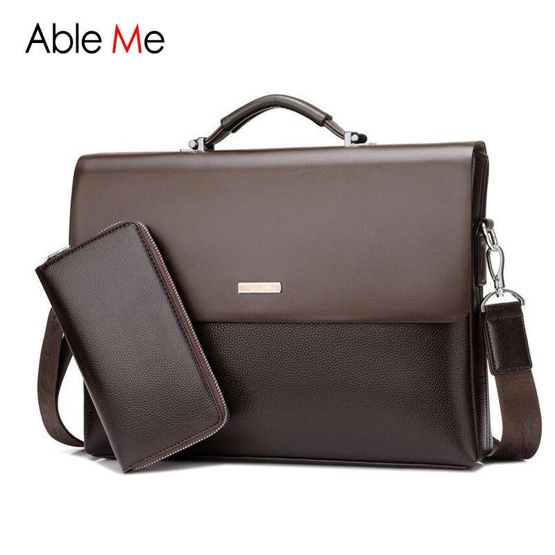 AbleMe Business Handtasche Herren Mode Leder-einkaufstasche Männlichen Sacoche Homme Dokument Laptop-tasche Schulter Männer Messenger Bags
