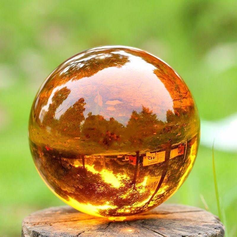 Новое прибытие хрустальный магический шар Азии природного кварца Янтарный Кристалл Исцеления указаны мяч с базой сфере домашнего декора п...