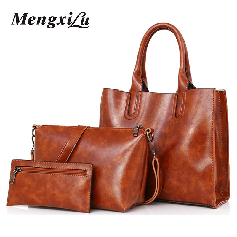 3 Pcs/Set Oil Wax Pu Leather Women Bag Leather Handbags High Quality Casual Female Bags Trunk Tote Spanish Brand Shoulder Bag
