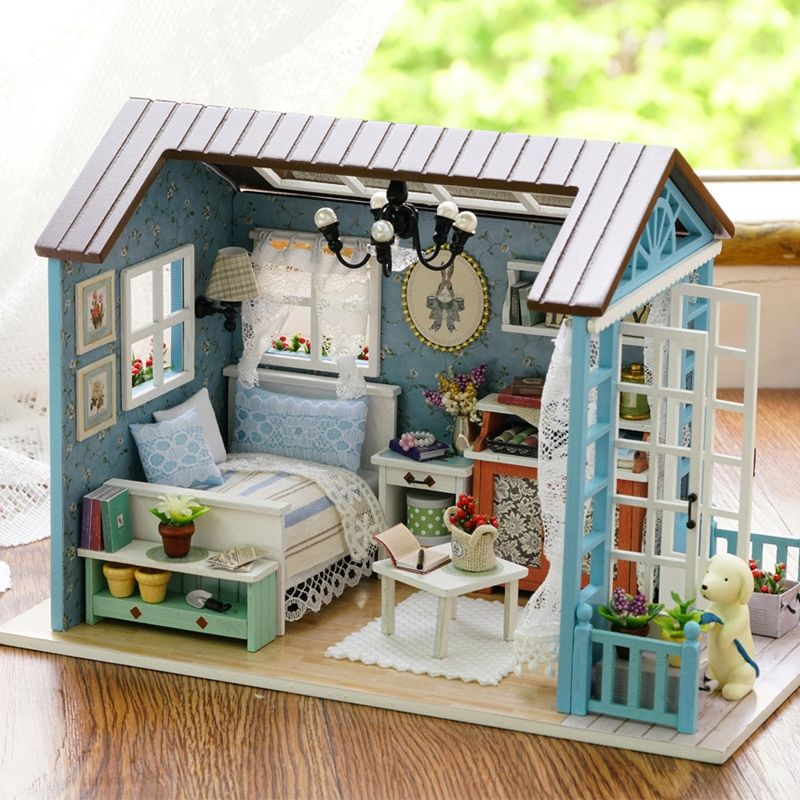 DIY Miniature Dollhouse Model Wooden Toy mini Furniture Hand-made doll house exquisite house for dolls gifts toys for children