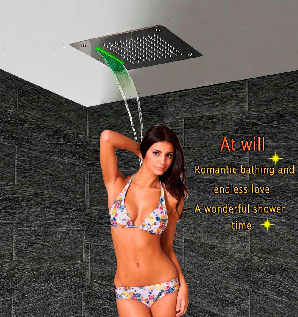 Luxus Duschkopf LED Decke Platz 400x400 SUS304 Edelstahl Badezimmer Produkte Zubehör Wasserfall Regen Nebel Kopfbrause
