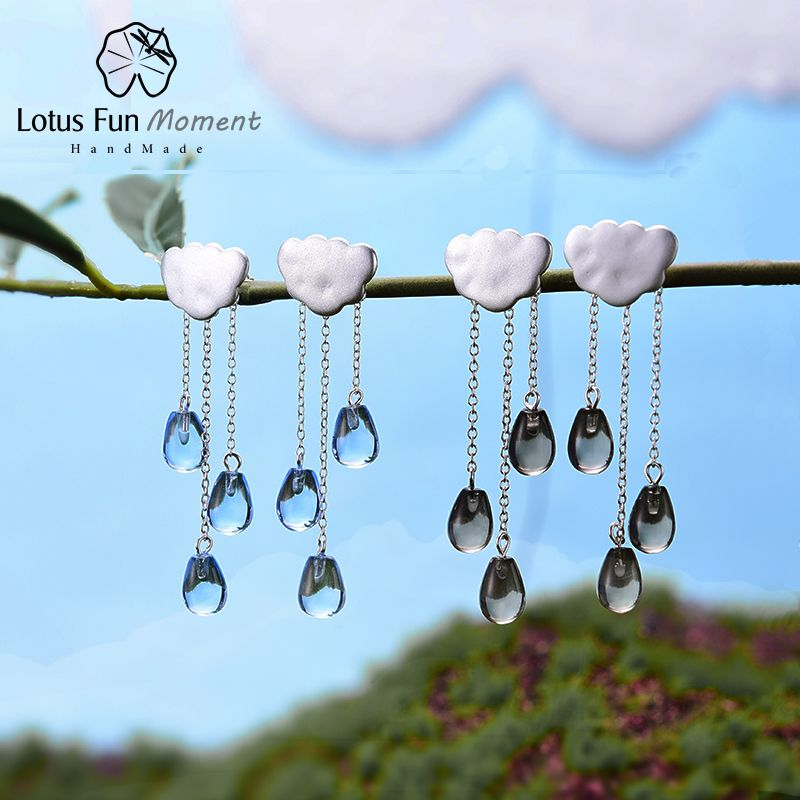 Lotus Fun Moment 925 Sterling Silver Natural Blue Crystal Stone Fashion Jewelry Vintage Long Tassel Drop Earrings for Women