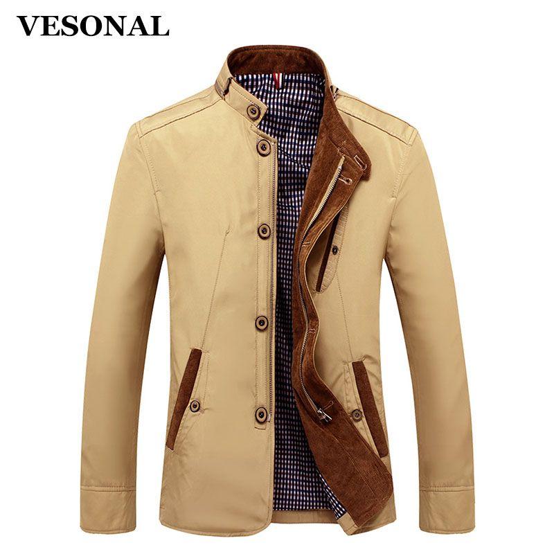 VESONAL Spring Autumn Polyester Slim Fit Thin Stand Button Male Casual Jacket Men Short Windbreaker Jackets Coat Blue Khaki 4XL