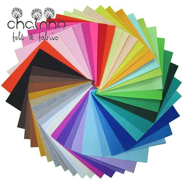 Polyester feutre tissu tissu bricolage à la main couture décor à la maison matériau épaisseur 1mm mélange couleur 30x30 cm 11.8x11.8 pouces