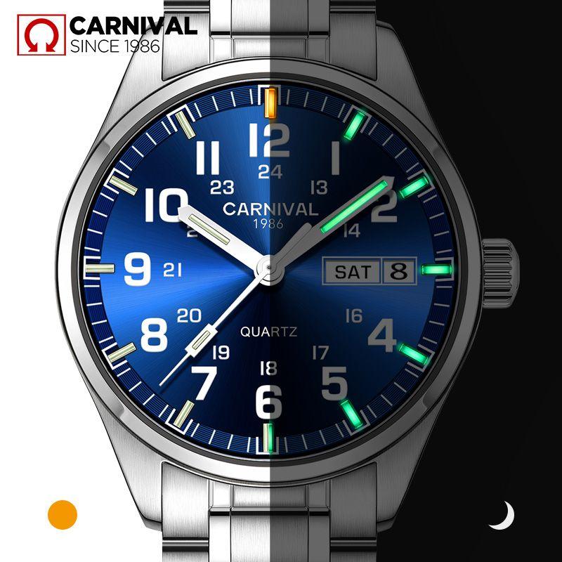 Carnival T25 Tritium Gas Luminous Quartz Watch Men Military Waterproof Mens Watches Sapphire Crystal Clock relogio masculino