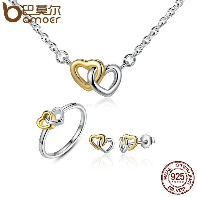 BAMOER Genuine 925 Sterling Silver Bridal Jewelry Set Heart to Heart Jewelry Sets Silver Jewelry Sets amp More ZHS016