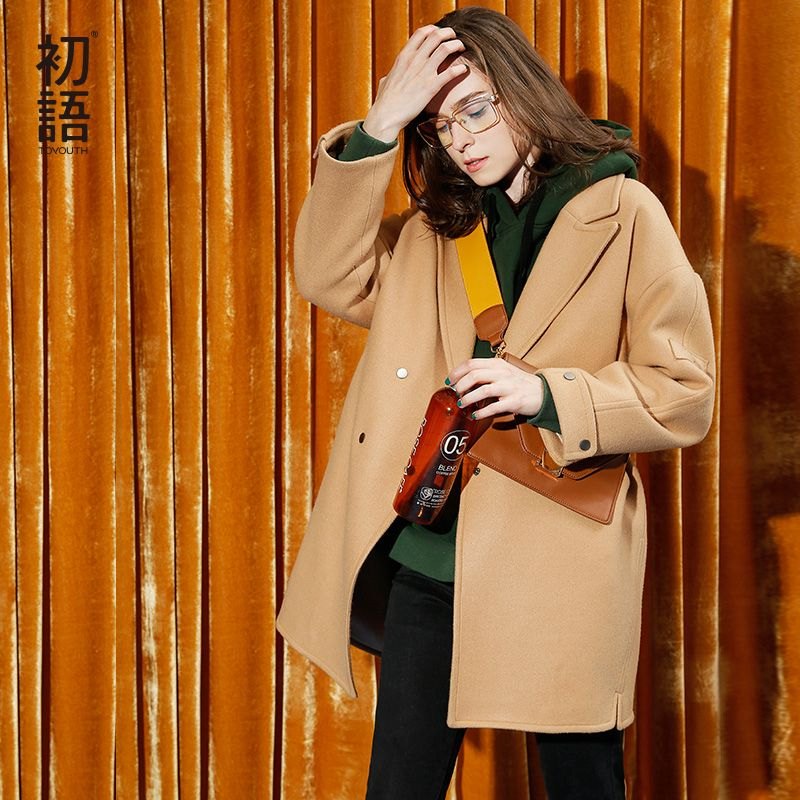 Toyouth Wollen Coat 2017 Autumn Women Double Breasted Solid Color Casual Medium-Length Overcoat Female