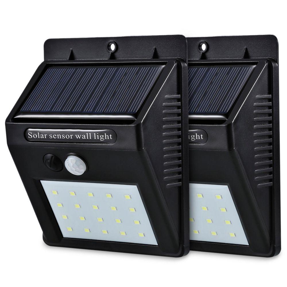 Énergie solaire LED PIR capteur de mouvement applique murale 20 éclairage extérieur étanche à LED économie d'énergie rue cour chemin maison jardin sécurité lampe