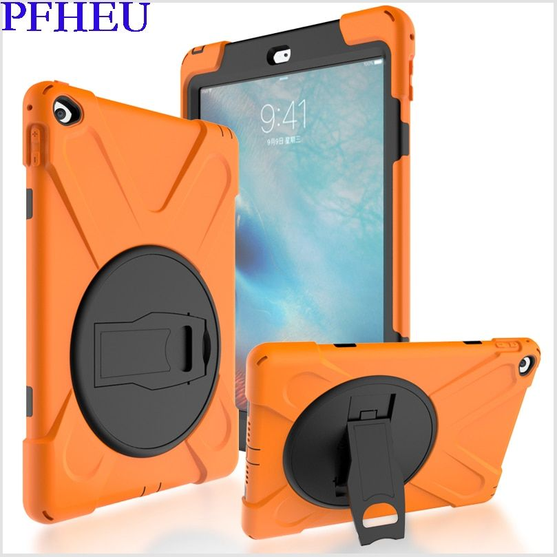 Case For apple ipad air 2 Kids Safe Shockproof Heavy Duty Silicone Hard Cover kickstand design case Model A1566/A1567 Case