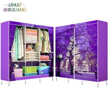 3D peinture Non-Tissé tissu armoires En Acier cadre renforcement Permanent De Stockage Organisateur placard armoire meubles de maison chambre