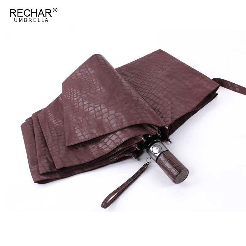 Imitation Crocodile peau parapluie pluie femmes 3 pliant coupe-vent entièrement automatique affaires grand parapluie haute qualité hommes parapluie