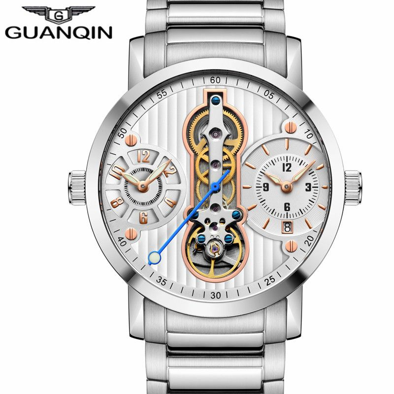 GUANQIN Luxury Brand Creative Automatic Skeleton Men Watch Tourbillon Waterproof Business Mechanical Watches Relogio Masculino