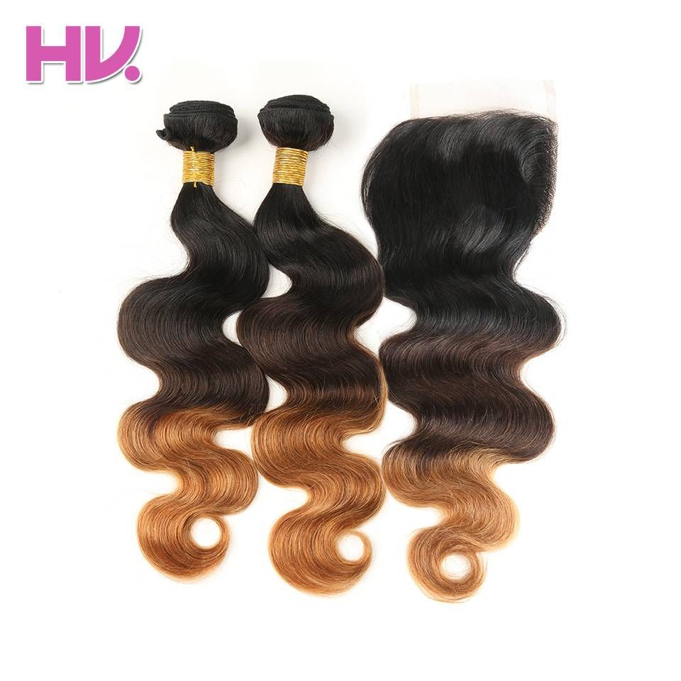 Hair Villa Pre-Colored Body Wave Peruvian Ombre Hair Lace Closure #1b/4/30 Non-Remy Human Hair Bundles With 4*4 Lace Closure