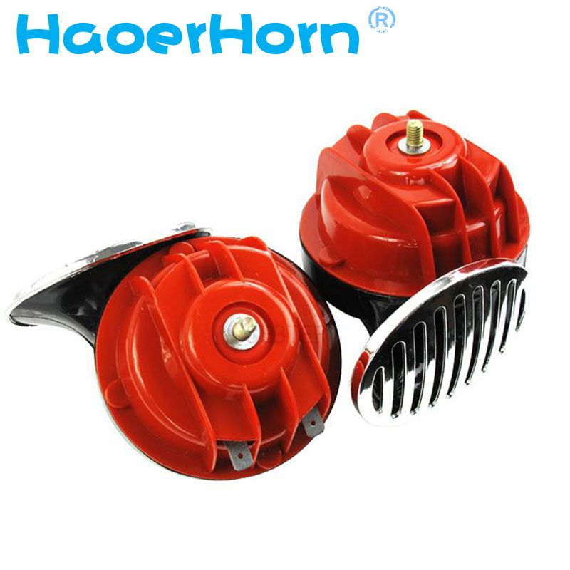 2x 12V Snail Air Horn With cover Vehicle Marine <font><b>Boat</b></font> Loud Alarm Kit Red for Car <font><b>Boat</b></font> Motorcycle Van car horn free shipping