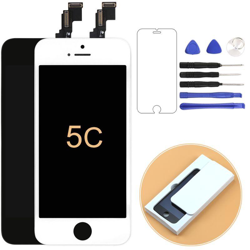 1 pcs 100% test Aucun pixel Mort lcd Pour iPhone 5C écran lcd avec Écran Tactile Digitizer Assemblée Noir et blanc + Cadre + Caméra