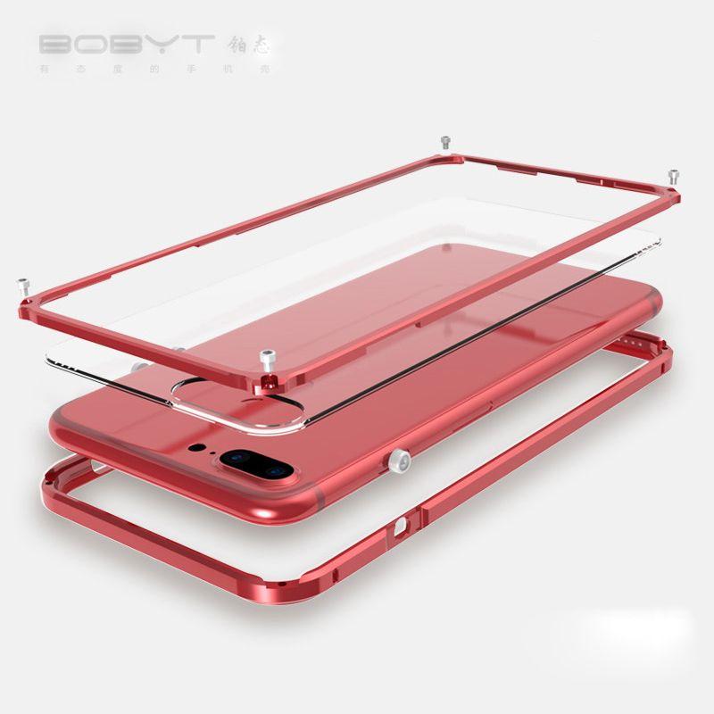 Pare-chocs en métal de luxe pour iphone 7 étui arrière cadre en Aluminium Transparent couverture de téléphone antichoc pour iphone 7 Plus étui en métal Transparent