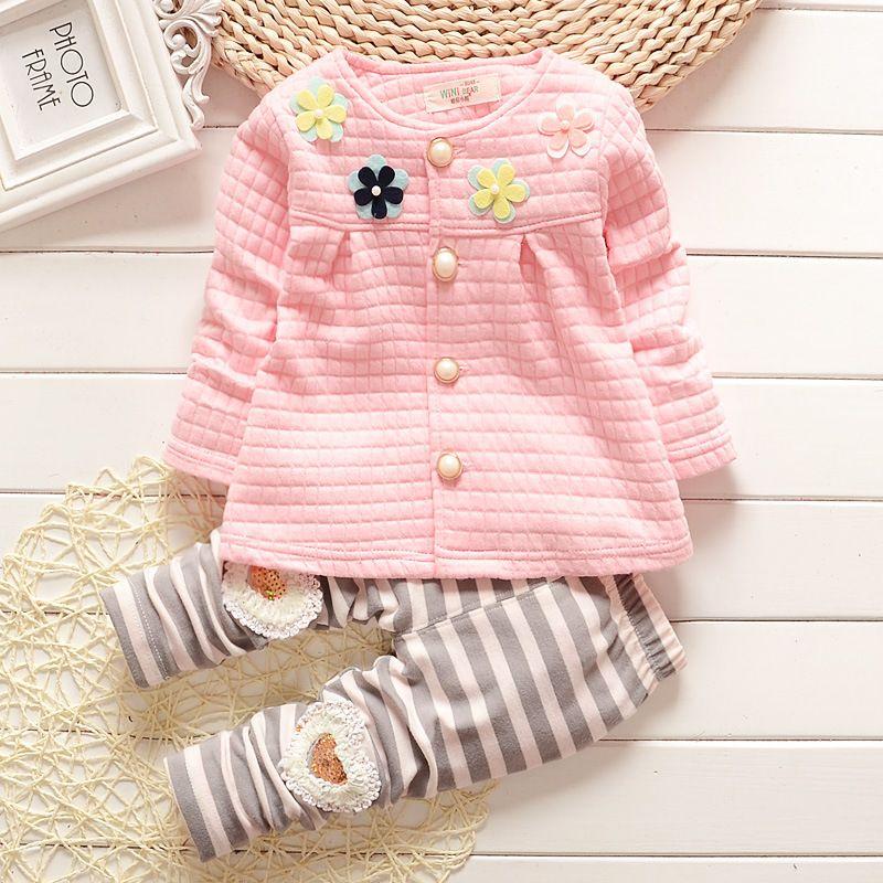 Nouveau bébé automne vêtements pour le bébé mignon de bande dessinée Motif T-shirt + pantalon coton vêtements, mode Bébé Fille Costume bébé Vêtements