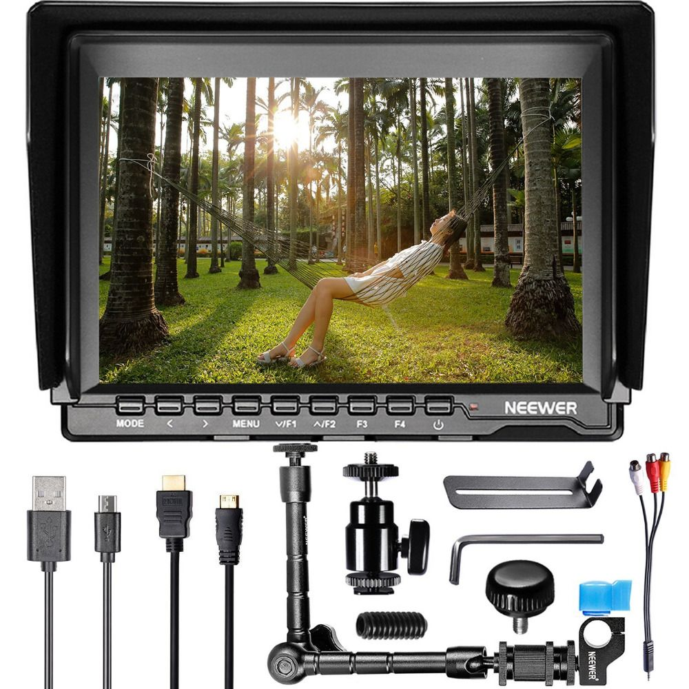 Neewer NW759 7 inches HD Monitor+Magic Arm with 15mm Rod Clamp 1280x800 IPS Screen Camera Field Monitor 16:10/4:3 Display Ratio