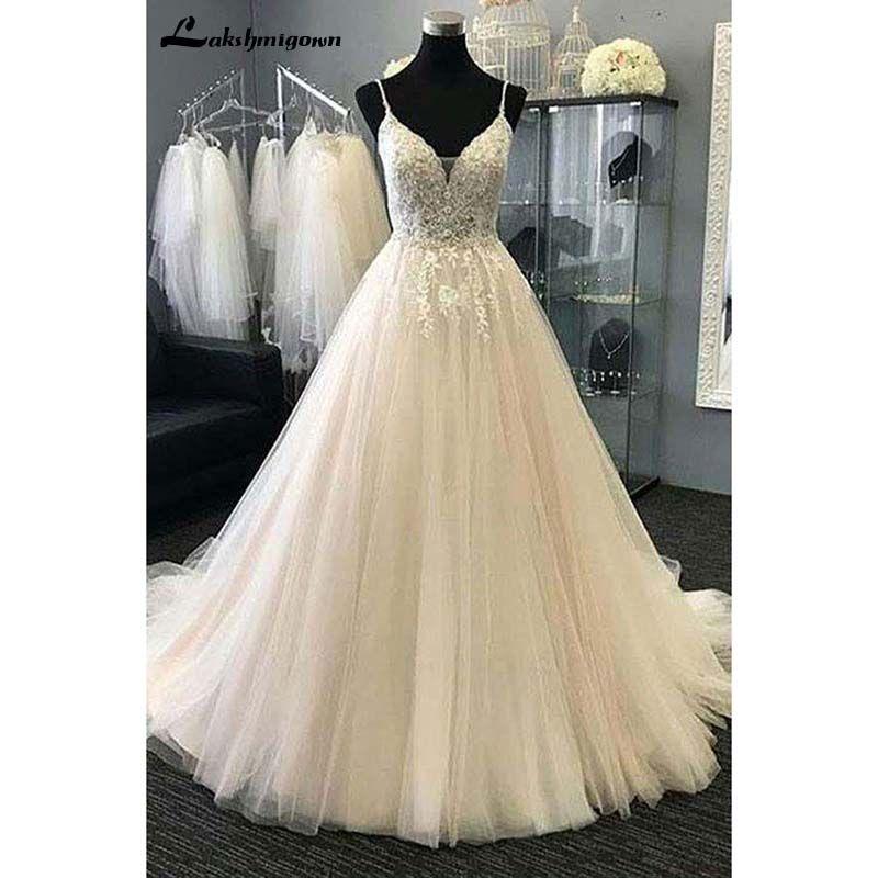 Sexy V-ausschnitt Strand Hochzeit Kleider Appliques Tüll A-Line Lange Braut Kleid Robe de mariie