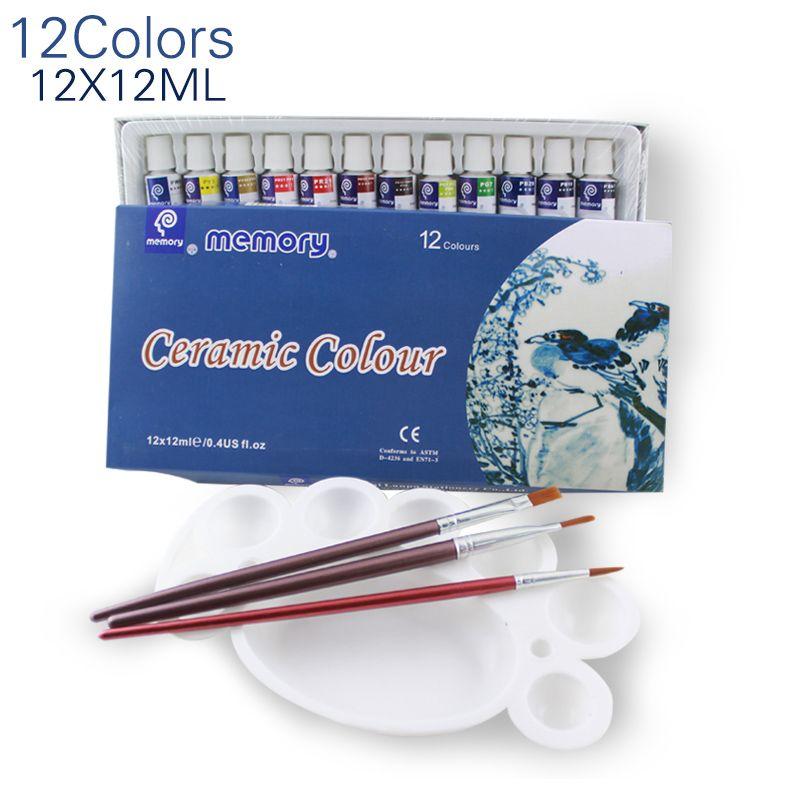 12 couleurs 12 ML couleur ensemble peinture acrylique céramique peinture verre peinture couleur verre dessin Pigments peints à la main