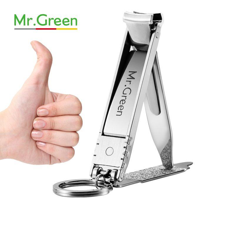 M. VERT ultra-mince Pliable Main Toe Nail Clipper Cutter Tondeuse Inoxydable Porte-clés En Gros de Haute Qualité