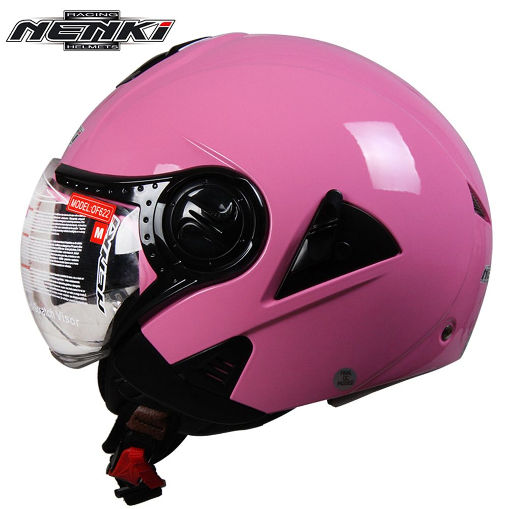 NENKI Electric Motorcycle Helmet Vintage Style Cruiser Touring Chopper Street Bike Scooter Helmet with Clear Lens Shield 622