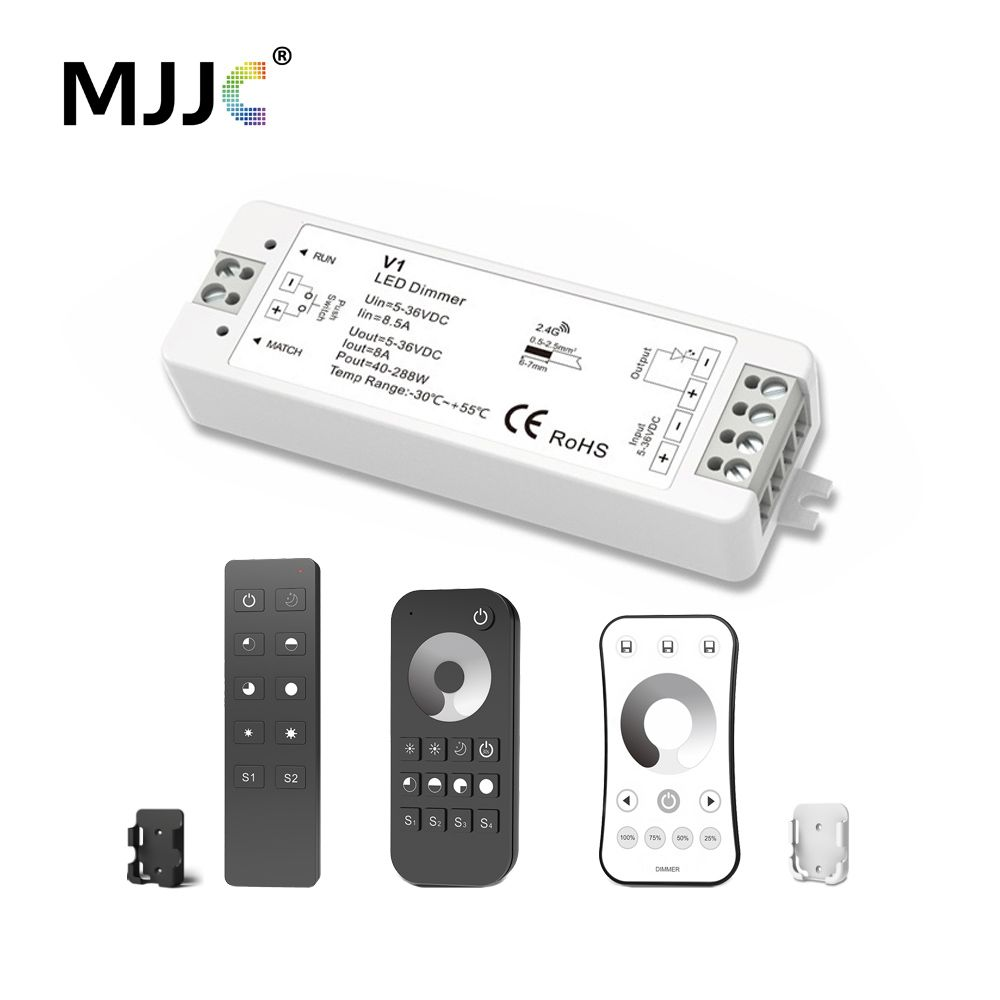 MJJC LED Dimmer 12V 5V 24V 36V 8A PWM Wireless RF LED Dimmer Switch ON OFF with 2.4G Remote for Single Color LED Strip Light