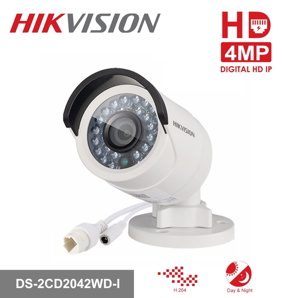 HIKVISION CCTV IP Camera DS-2CD2042WD-I 4MP Bullet Security IP Camera with POE Network camera Security Cameras <font><b>Surveillance</b></font>