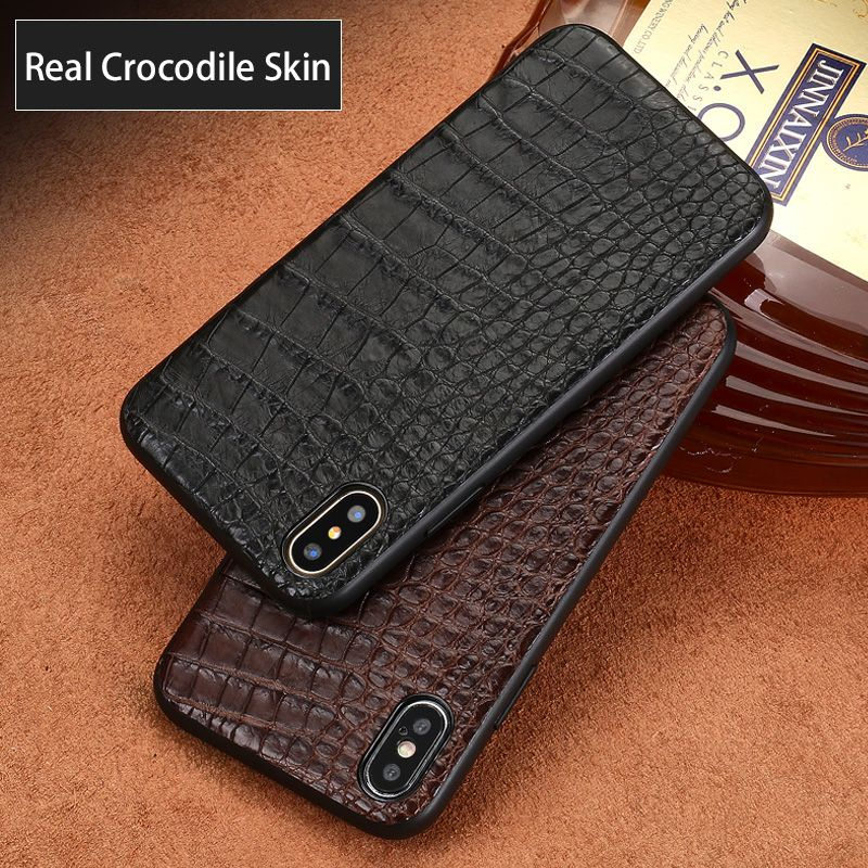 Genuine Leather phone case For iPhone X case Natural Real Crocodile Leather belly texture For iPhone SE 5 5S 6 6S 7 8 Plus cover