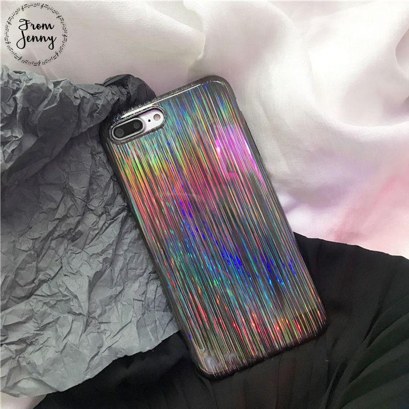 De Jenny INS Láser caliente Caja Del Teléfono Móvil Para iPhone6 6 s 7 8 Más 8 más 4.7 pulgadas 5.5 + TPU Suave Carcasa Trasera de La Cubierta Fundas