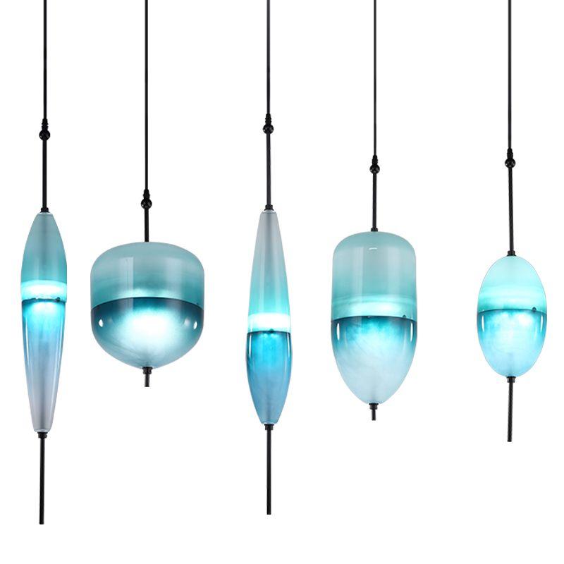 Modern LED Art deco Huse Gradient Glass Pendant Lamps Venice design Flow T Lake Blue glass pendant light Cafe Bar Lights