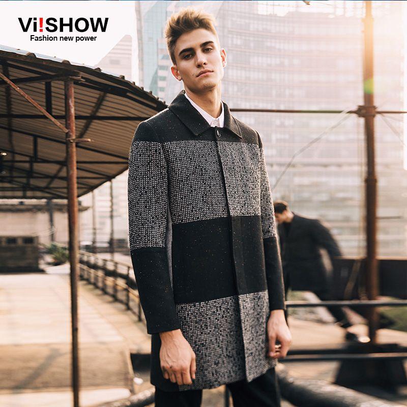 VIISHOW Brand Winter Pea Coat Men Jacket Long Trench Coat Male Overcoat Jacket Winter Long Jacket Coats for Men FC10153