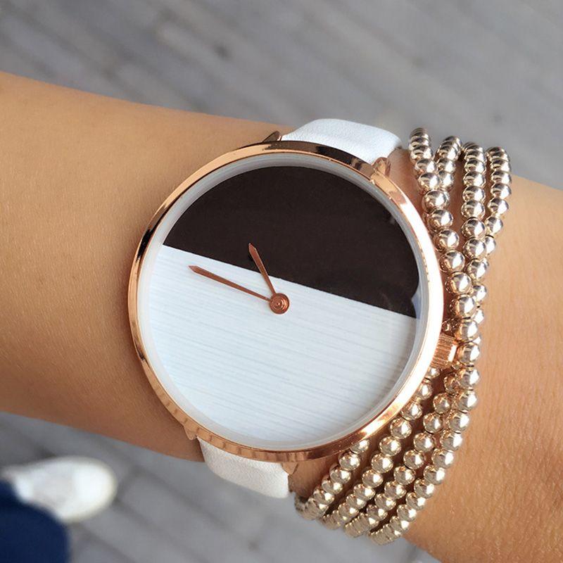 2017 Nuevo Diseño de Dos Colores De Madera Estilo Simple Dial Reloj Manera de La Correa Fina de las mujeres Elegantes de Cualquier partido Ocasional de Señora Reloj horas