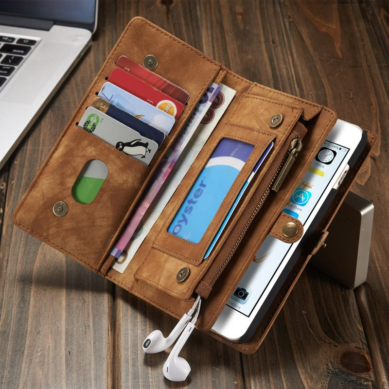 Vintage Genuine Leather Case for iPhone X 8 7 6 6S/ Plus/ 8 7 Plus Multi Functional 2 in 1 Leather Wallet Back Cover Phone Cases