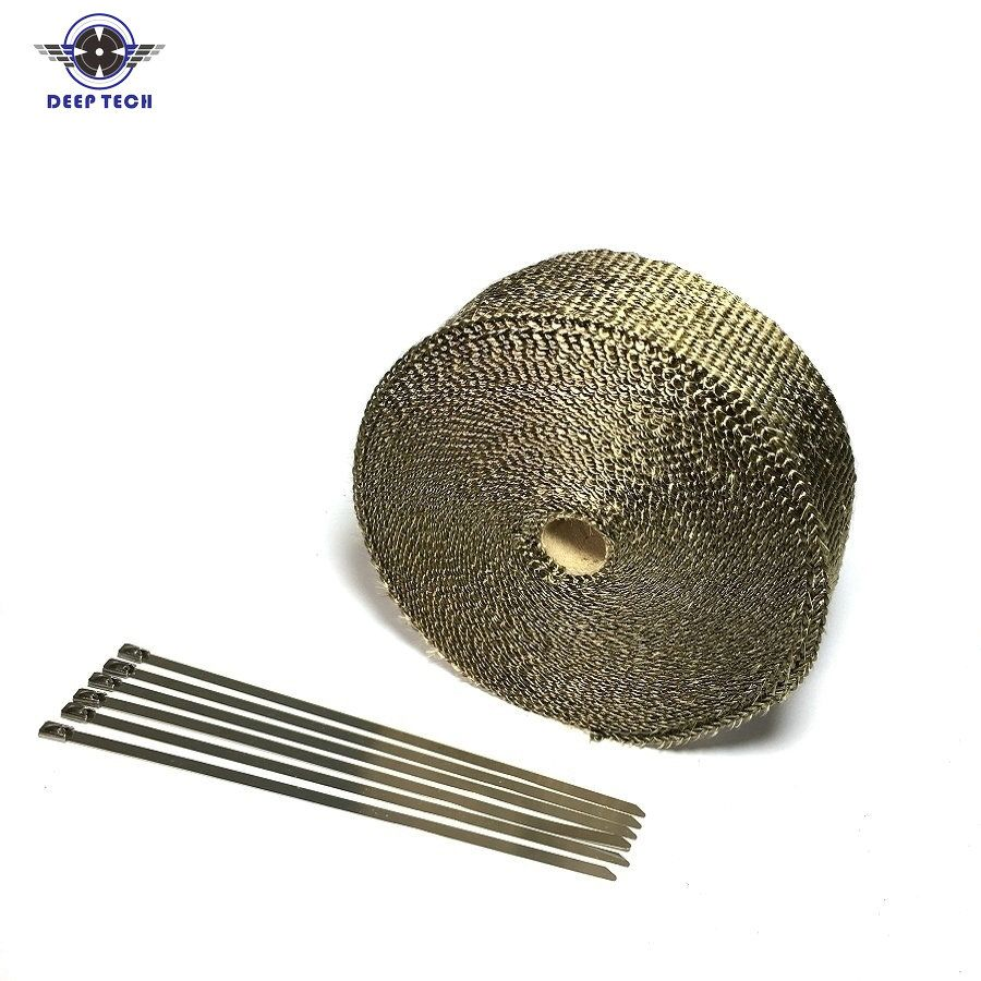 2''x50' Motorcycle Exhaust Wrap Muffler Pipe Header Downpipe Auto Manifold Heat Resistant Wrap With 8 Pcs Cable Ties