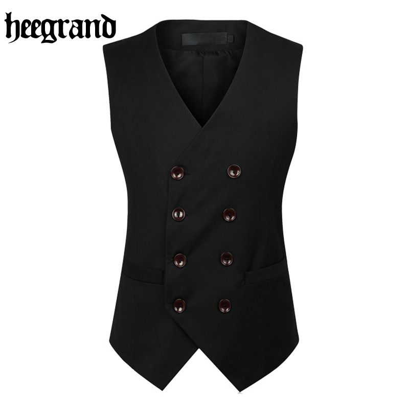 2017, Новая мода двубортный тонкий Chaleco рукавов хлопок жилет костюм жилет мужской платье жилет mwb218