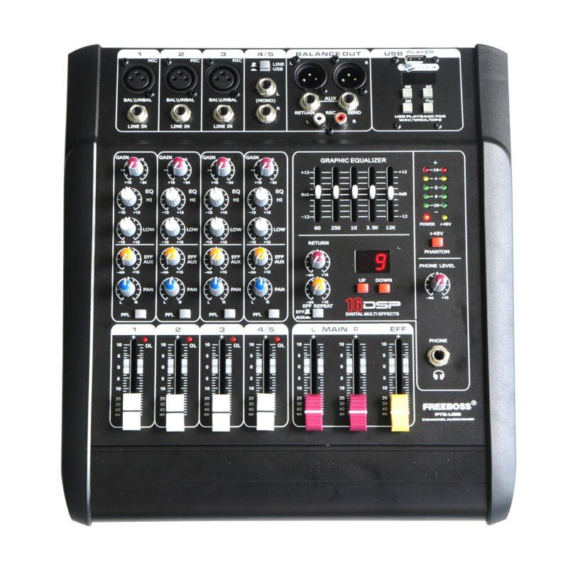 Freeboss PT5-USB 5Mono Channels 16 DSP Effects 2*250W Professional USB Powered Audio Mixer Console