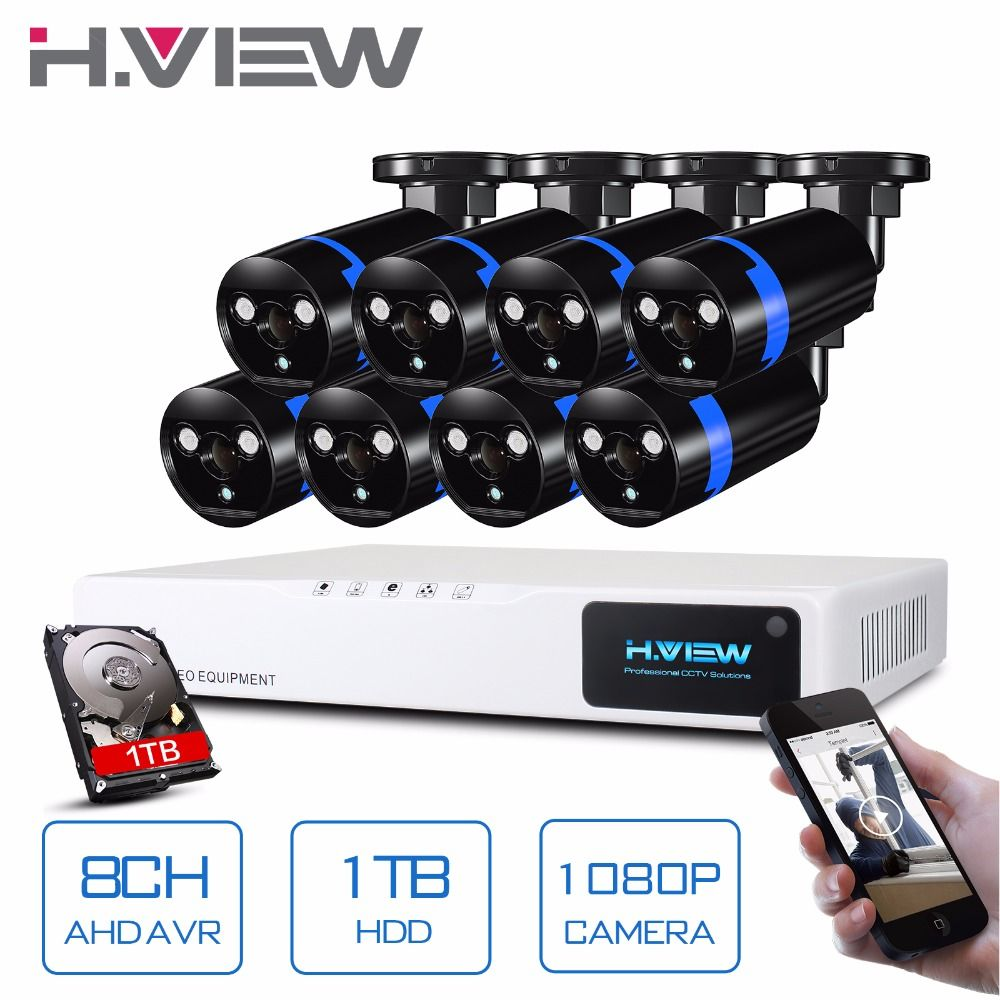 H.View Security Camera System 8ch CCTV System 8 x 1080P CCTV Camera Surveillance System Kit Camaras Seguridad Home 1TB HDD