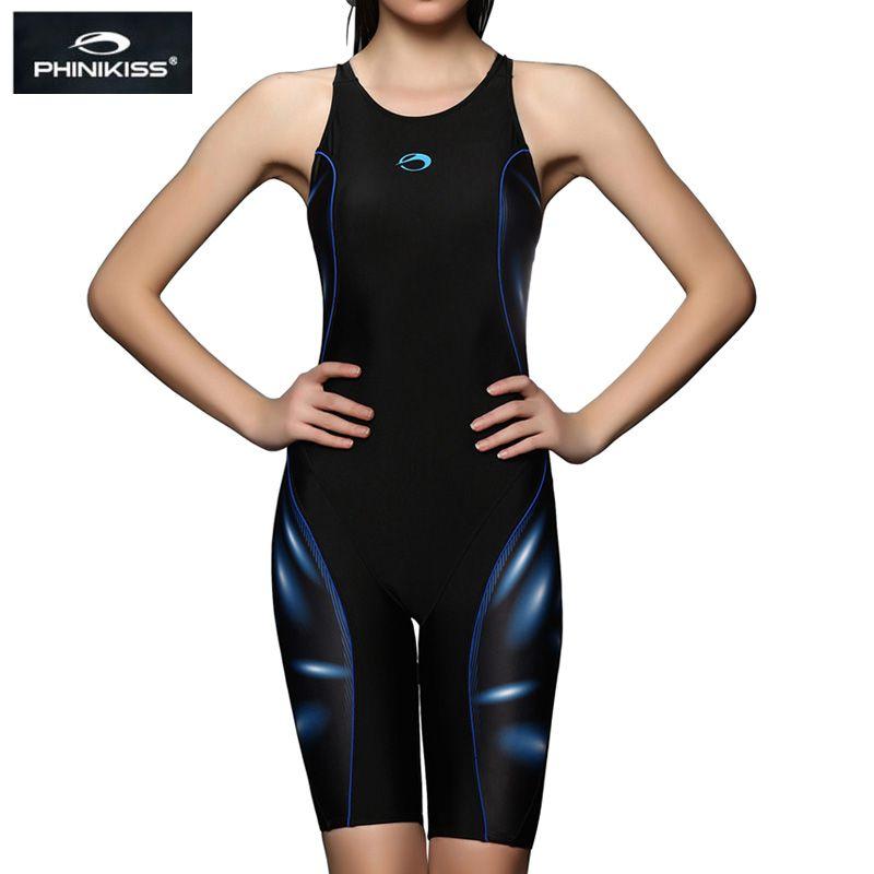 PHINIKISS marque compétition grande taille maillots de bain femmes Long genou rembourré maillot de bain une pièce filles professionnelles course maillot de bain