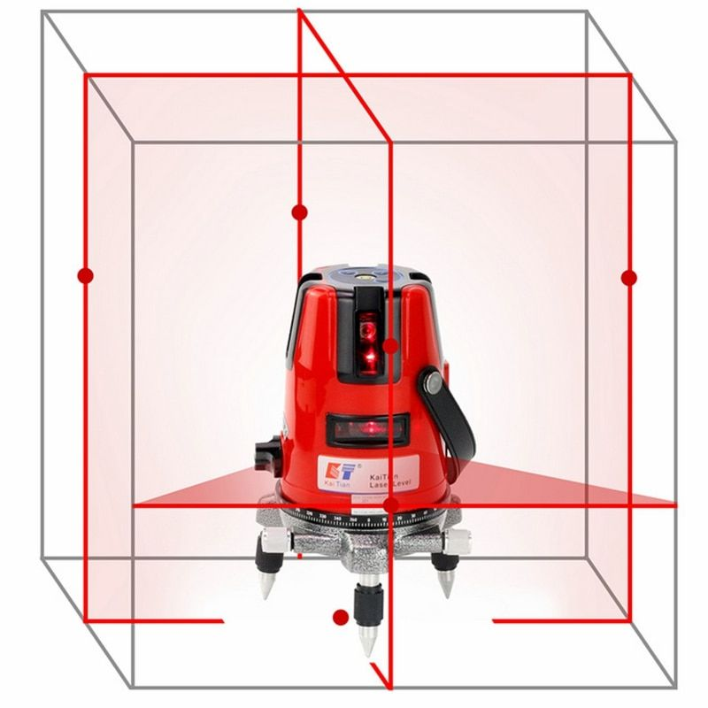 KaiTian Laser Level 5 Lines Professional Laser 635nm Slash Function Vertical Horizontal EU Self leveling Cross Lazer Level Tools