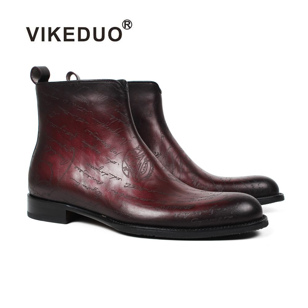 Vikeduo 2018 New Men's Boots Letter Pattern Laser Shoes Male's Genuine Leather Shoe Plus Size Bota Masculina Ankle Boot Footwear