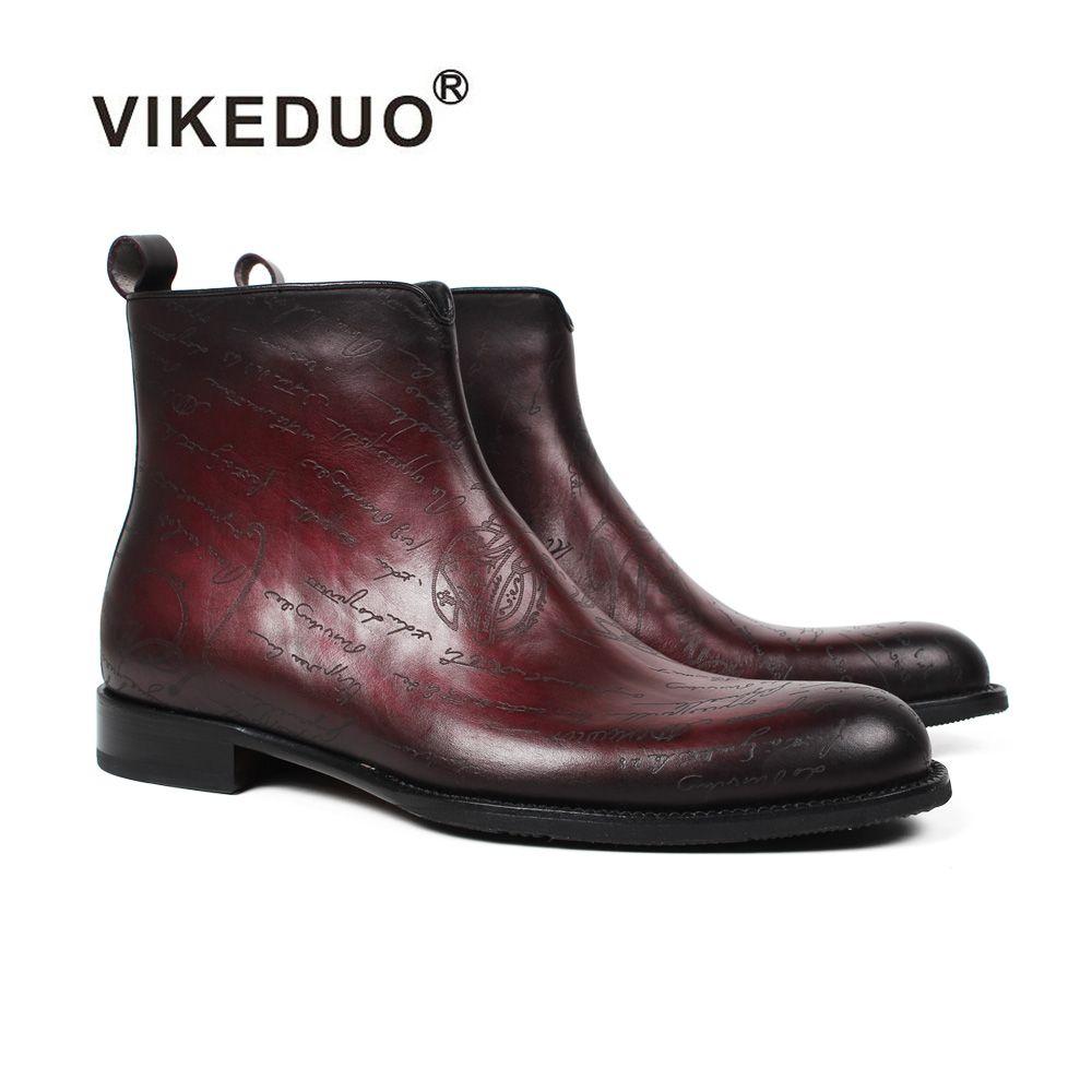 Vikeduo 2019 Neue männer Stiefel Brief Muster Laser Schuhe Männlichen Echtem Leder Schuh Plus Größe Bota Masculina Ankle boot Schuhe