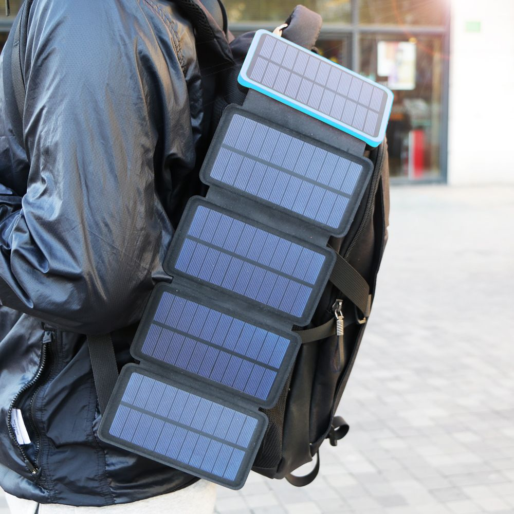 20000mAh Solar Power Bank Real Solar Charging Phone External Battery Charger for iPhone iPad Samsung Huawei Xiaomi LG Sony.