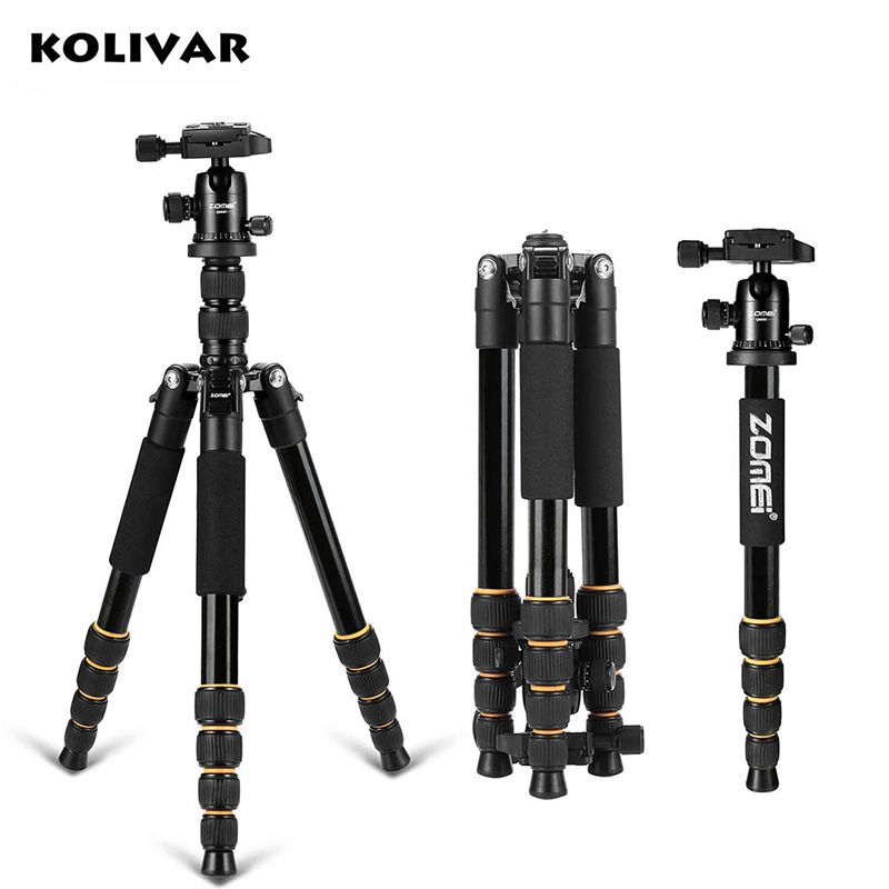 KOLIVAR Zomei Q666 Tripod Professional Portable Travel Tripod Monopod Stand For DSLR Camera With Stable Ball Head Up to 13lbs