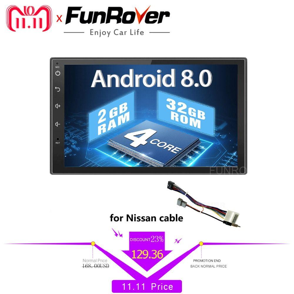 Funrover 2 din Android 8.0 Car dvd For Nissan Qashqai X-trail Almera Pathfinder Teana Note Juke car radio Gps Multimedia Player