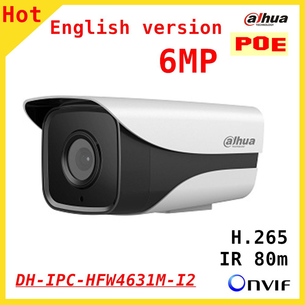 100% Original 6mp Dahua IP Camera English firmware IR 80M H.265 IPC-HFW4631M-I2 IR Cut HD1080P Support POE DH-IPC-HFW4631M-I2