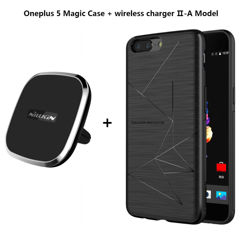 NILLKIN Car Magnetic Wireless Charger II + Magic Case Wireless Charging Receiver Case Back Cover For Oneplus 5 A5000 Xiaomi Mi6